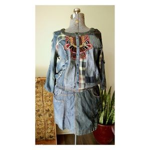 Desigual Denim Patchwork Embroidered Dress